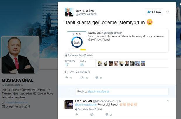Rektör Mustafa Ünal öğrencisinin telefon faturasını ödedi!