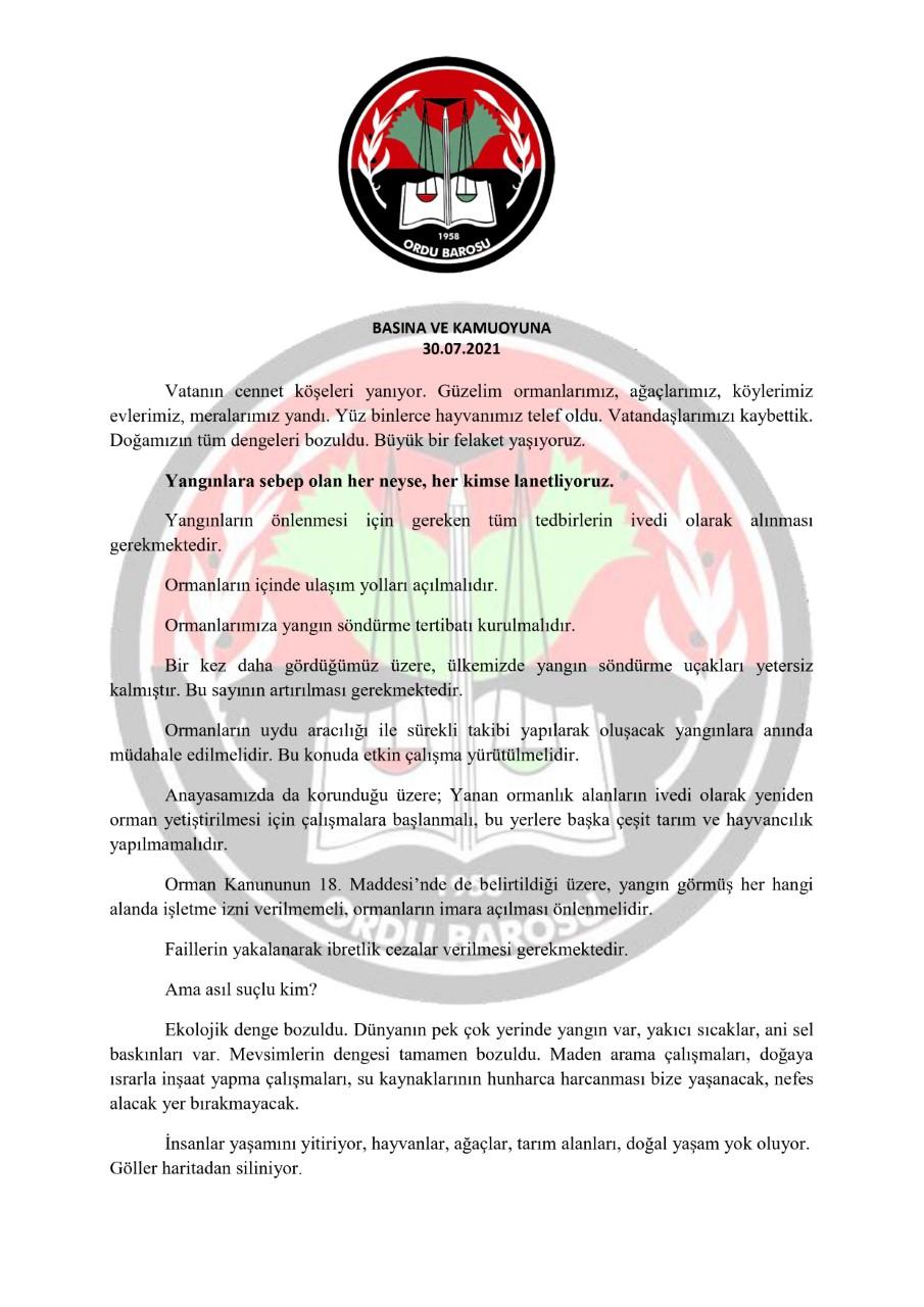 T.C. ORDU BAROSU Basın Bildirisi